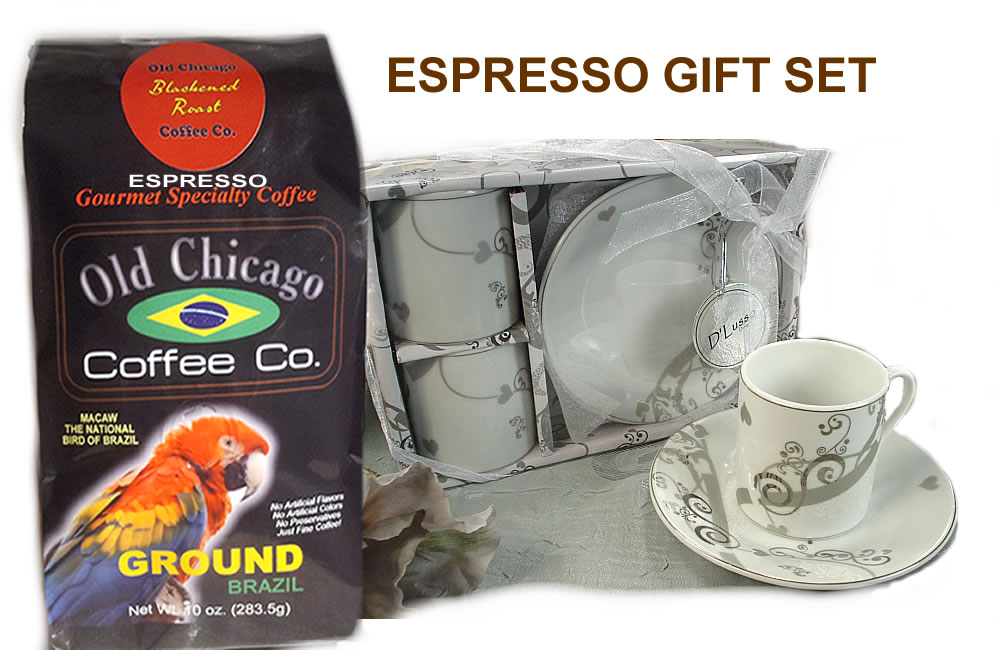 Espresso for two Set in Gift Box with Espresso Coffee